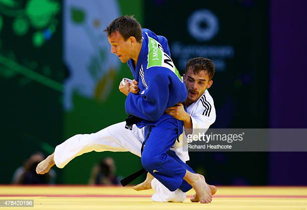Vincent Lamare of France and Jeroen Mooren of Netherlands compete during the Men's Judo 60kg round of 32 bout on day thirteen of the Baku 2015...