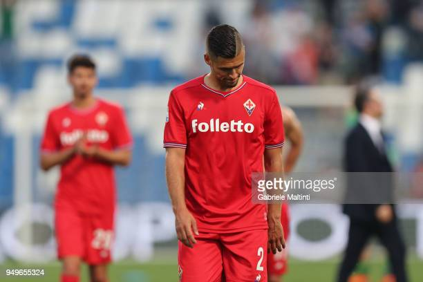 Vincent Laurini of ACF Fiorentina shows his dejection during the serie A match between US Sassuolo and ACF Fiorentina at Mapei Stadium Citta' del...