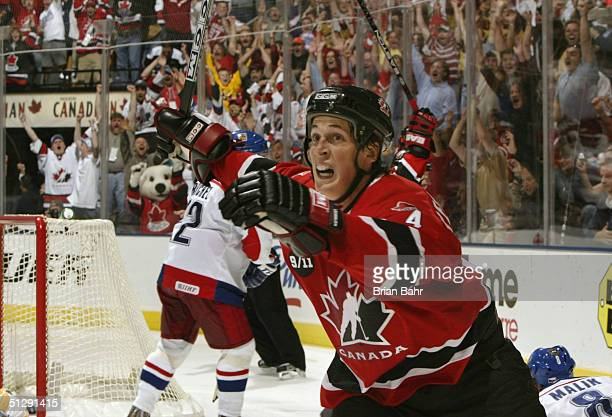 Vincent Lecavalier of Team Canada celebrates after scoring the winning goal in overtime against the Czech Republic Team during the 2004 World Cup of...