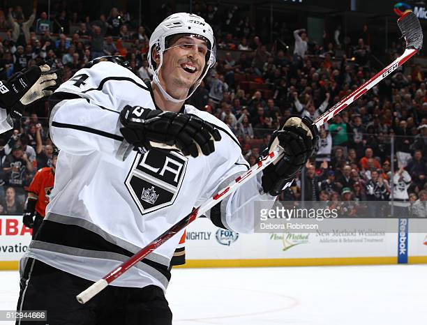 Vincent Lecavalier of the Los Angeles Kings celebrates during the game against the Anaheim Ducks on February 28 2016 at Honda Center in Anaheim...