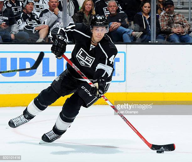 Vincent Lecavalier of the Los Angeles Kings handles the puck during the game against the Winnipeg Jets on April 9 2016 at STAPLES Center in Los...