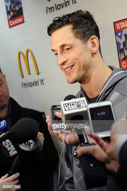 Vincent Lecavalier of the Los Angeles Kings speaks during a press conference prior to the game against the Toronto Maple Leafs on January 7 2016 at...