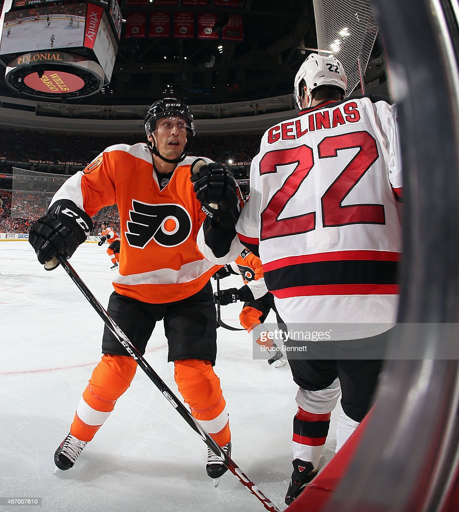 Vincent Lecavalier #40 of the Philadelphia Flyers skates against the New Jersey Devils at the Wells Fargo Center on October 9, 2014 in Philadelphia, Pennsylvania. The Devils defeated the Flyers 6-4.
