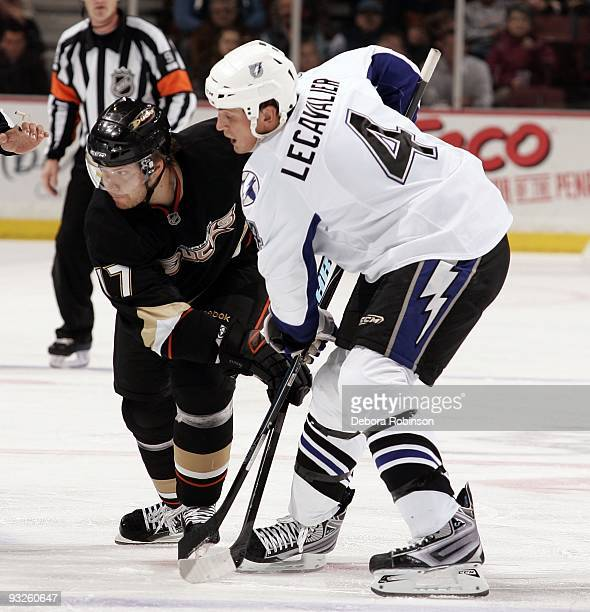 Vincent Lecavalier of the Tampa Bay Lighting faces off against Petteri Nokelainen of the Anaheim Ducks during the game on November 19 2009 at Honda...