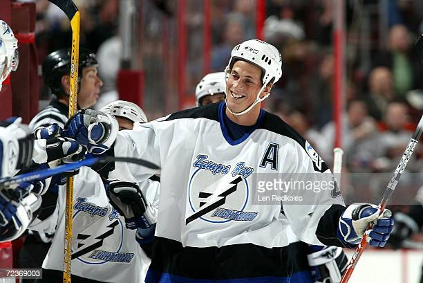 Vincent Lecavalier of the Tampa Bay Lightning celebrates a goal against the Philadelphia Flyers at the Wachovia Center on November 2 2006 in...