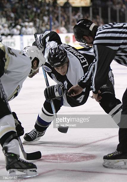 Vincent Lecavalier of the Tampa Bay Lightning lines up in position to take the faceoff against the Pittsburgh Penguins during their NHL game at the...