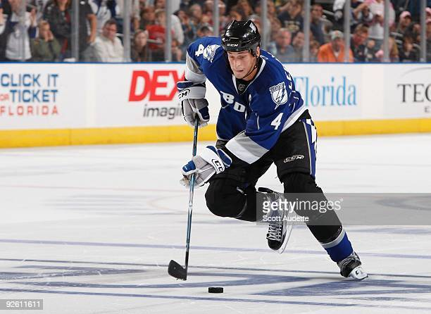 Vincent Lecavalier of the Tampa Bay Lightning skates with the puck against the Buffalo Sabres at the St Pete Times Forum on October 24 2009 in Tampa...