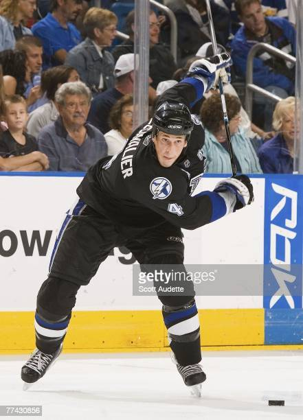 Vincent Lecavalier of the Tampa Bay Lightning winds up while shooting the puck against the Atlanta Thrashers during the third period at St. Pete...