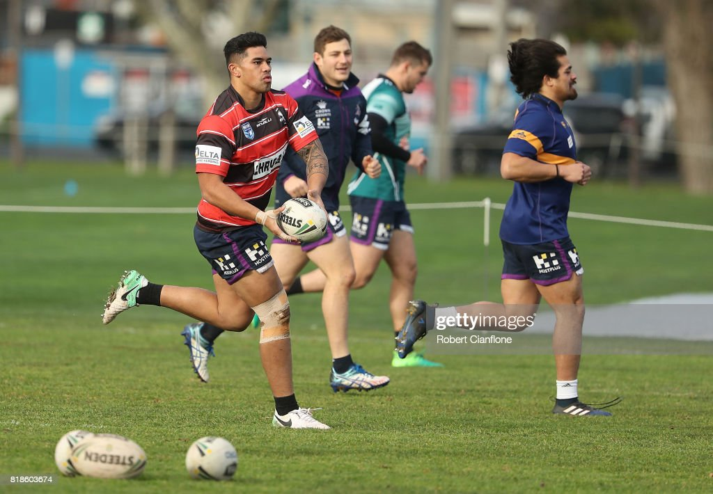 Vincent Leuluai of the Storm runs with the ball during a Melbourne Storm NRL training session at Gosch's Paddock on July 19, 2017 in Melbourne, Australia.