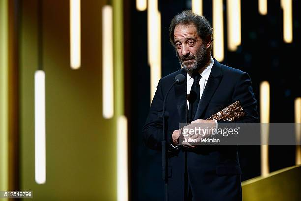 Vincent Lindon receives an award for best actor in 'La loi du marché' during The Cesar Film Award 2016 at Theatre du Chatelet on February 26 2016 in...