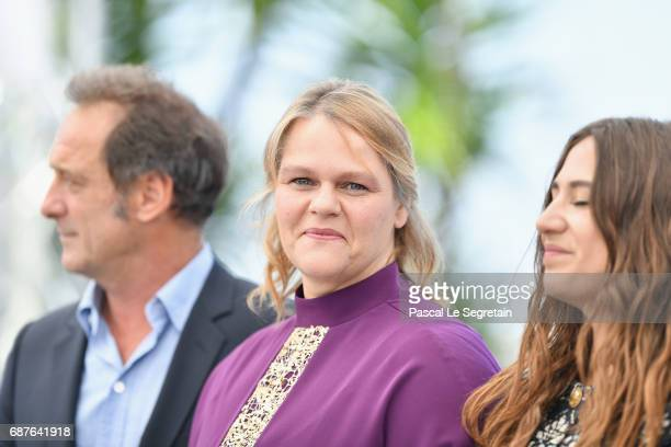 Vincent Lindon Severine Caneele and Izia Higelin attend the 'Rodin' photocall during the 70th annual Cannes Film Festival at Palais des Festivals on...