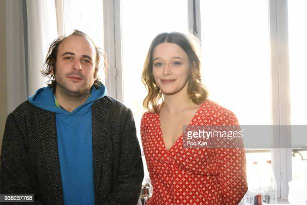 Vincent Macaigne and Adeline d'Hermy attend the 'Romy Schneider Patrick Dewaere Award 2018' Nominee Press Conference at Hotel Lancaster on March 26...