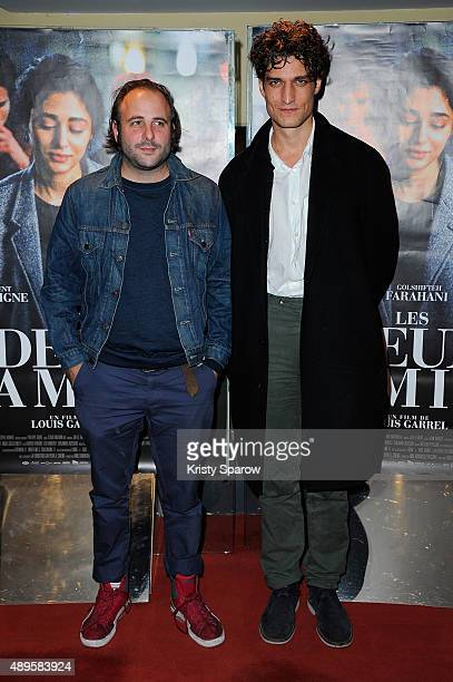 Vincent Macaigne and Louis Garrel attend the 'Les Deux Amis' Paris Premiere at UGC Cine Cite des Halles on September 22 2015 in Paris France