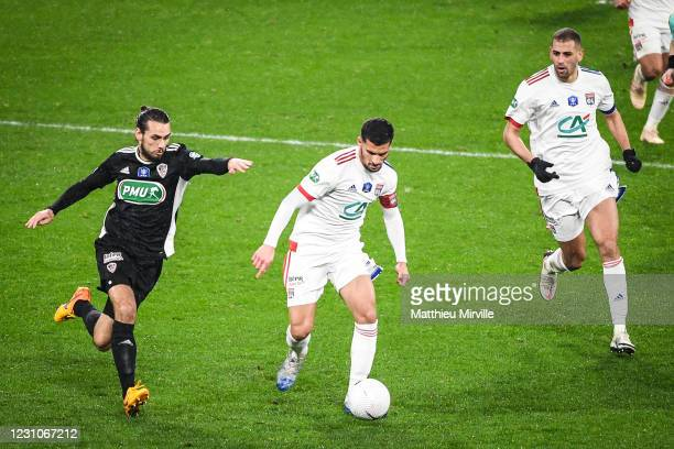 Vincent MARCHETTI of Ajaccio, Houssem AOUAR of Lyon and Islam SLIMANI of Lyon during the french cup match between Lyon and Ajaccio at Groupama...