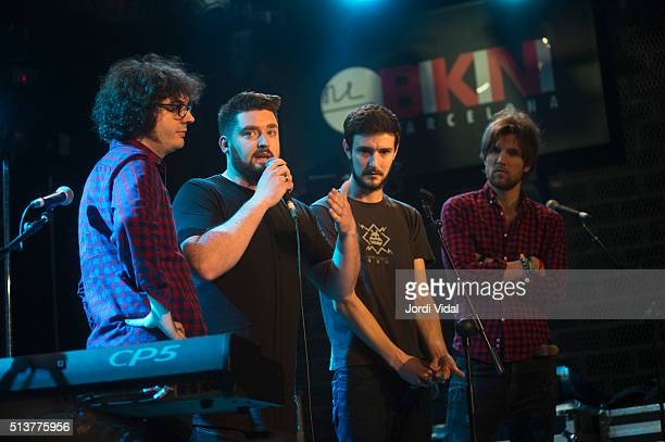 Vincent May, Jason Boland and Mark Prendergast of Kodaline expain to the audience that the singer Steve Garrigan has been taken by ambulance to...