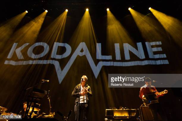 Vincent May Steve Garrigan and Jason Boland of Kodaline perform on stage at The SSE Hydro on January 31 2019 in Glasgow Scotland