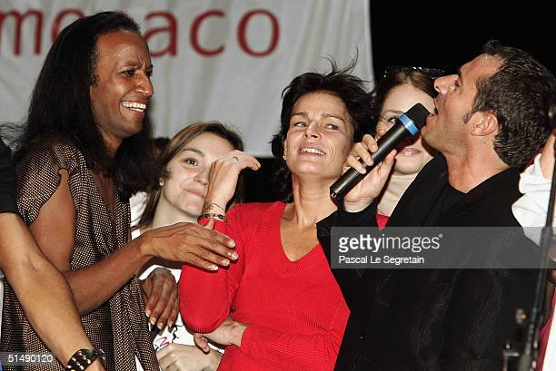 """Vincent McDoom , Princess Stephanie of Monaco and Bernard Montiel attend the second day of the """"Fight Aids Monaco"""" concert on October 17, 2004 in..."""