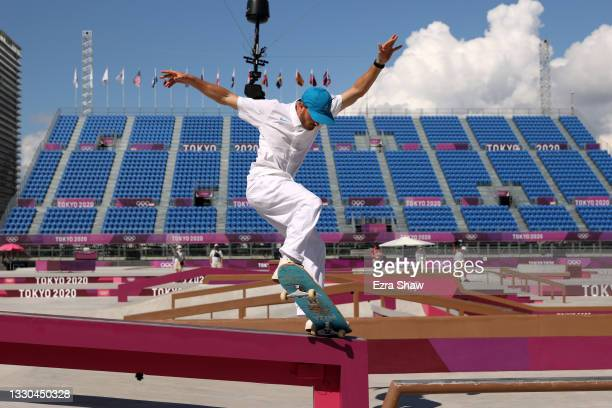 Vincent Milou of Team France competes at the Skateboarding Men's Street Prelims on day two of the Tokyo 2020 Olympic Games at Ariake Urban Sports...