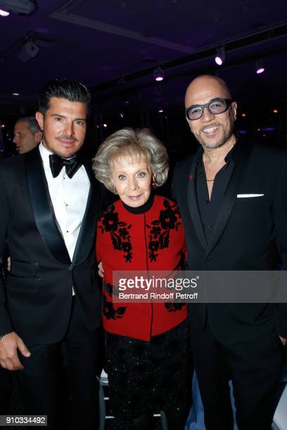Vincent Niclo Lily Safra and Pascal Obispo attend the 16th Sidaction as part of Paris Fashion Week on January 25 2018 in Paris France