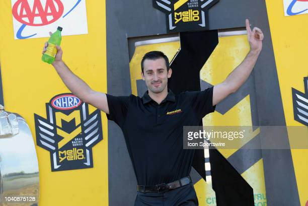 Vincent Nobile Chevrolet Camaro NHRA Pro Stock is introduced to the crowd during prerace festivities before the start of the NHRA AAA Midwest...