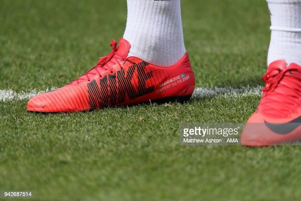 Vincent on the Nike football boots of Zlatan Ibrahimovic of Los Angeles Galaxy as warms up prior to the MLS match between Los Angeles FC and Los...