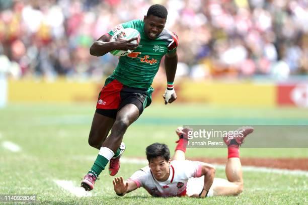 Vincent Onyala of Kenya makes a break against Japan on day three of the Cathay Pacific/HSBC Hong Kong Sevens at the Hong Kong Stadium on April 07...