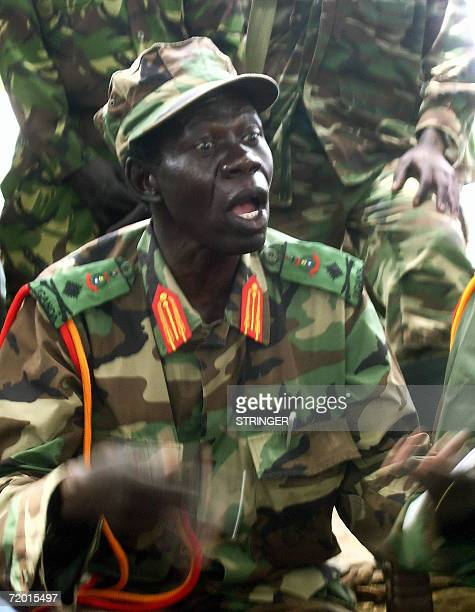 Vincent Otti, number two in the Lord's Resistance Army , addresses journalists at Ri-Kwangba September 2006, on southern Sudan's border with the...