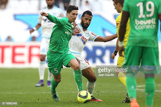 Vincent Pajot of SaintEtienne and Alaixys Romao of OM in action during the French Ligue 1 match between Olympique de Marseille and AS SaintEtienne at...
