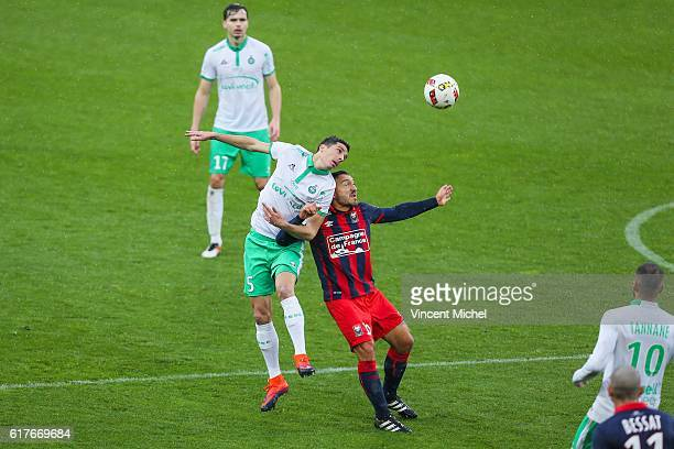 Vincent Pajot of SaintEtienne and Steed Malbranque of Caen during the Ligue 1 match between SM Caen and AS SaintEtienne at Stade Michel D'Ornano on...