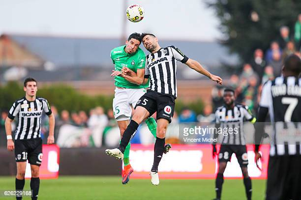 Vincent Pajot of SaintEtienne and Thomas Mangani of Angers during the French Ligue 1 match between Angers and Saint Etienne on November 27 2016 in...