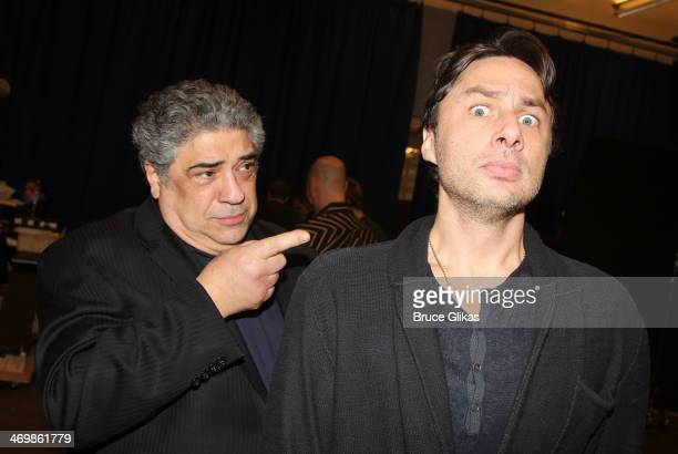 Vincent Pastore and Zach Braff pose backstage at the new musical 'Bullets Over Broadway' at The St James Theater on Broadway on February 16 2014 in...