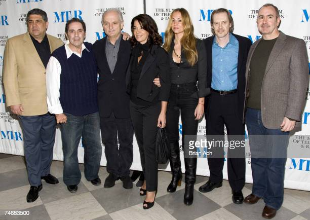 Vincent Pastore David Proval David Chase Anabella Sciorra Drea de Matteo Steve Buscemi and Terence Winters during The Museum of Television and Radio...