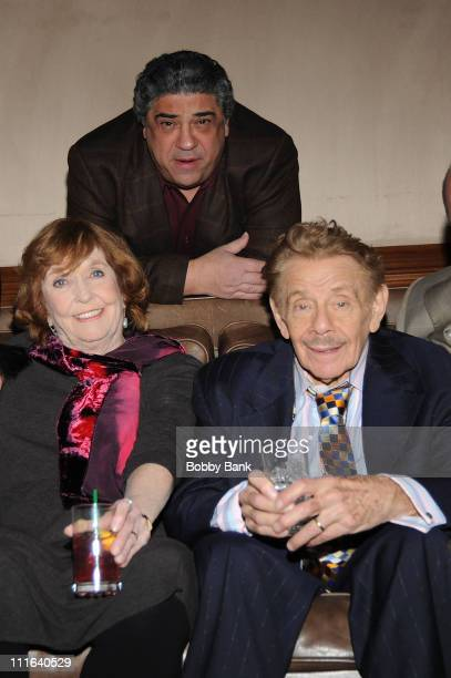 Vincent Pastore,Anne Meara and Jerry Stiller pose backstage at the Jerry Stiller show at the Hilton Hotel & Casino on January 17, 2009 in Atlantic...