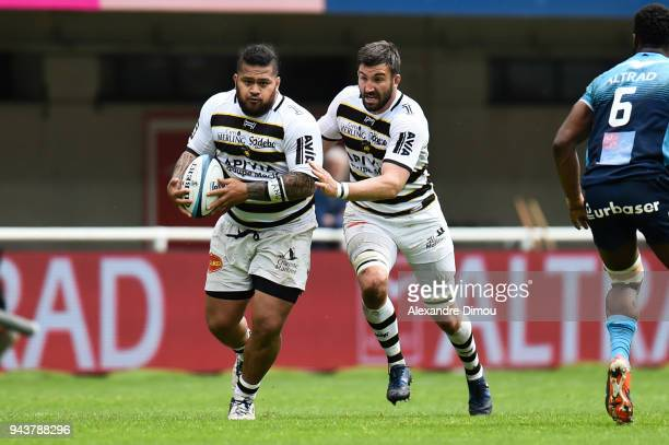 Vincent Pelo and Romain Sazy of La Rochelle during the French Top 14 match between Montpellier and La Rochelle at Altrad Stadium on April 8 2018 in...
