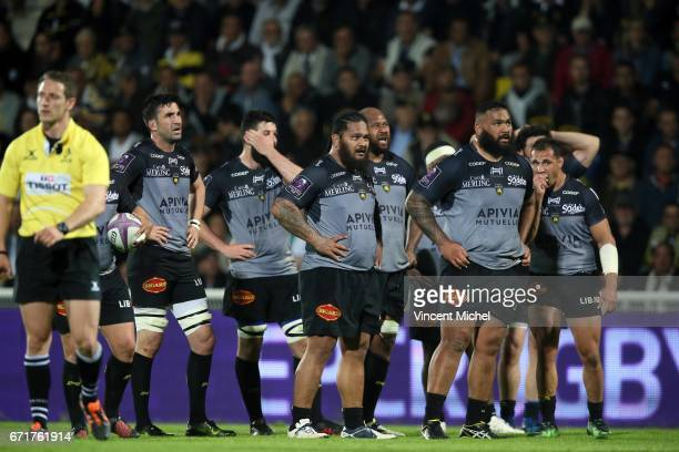 Vincent Pelo of La Rochelle and Uini Atonio of La Rochelle during the European Challenge Cup semi final between La Rochelle and Gloucester on April...