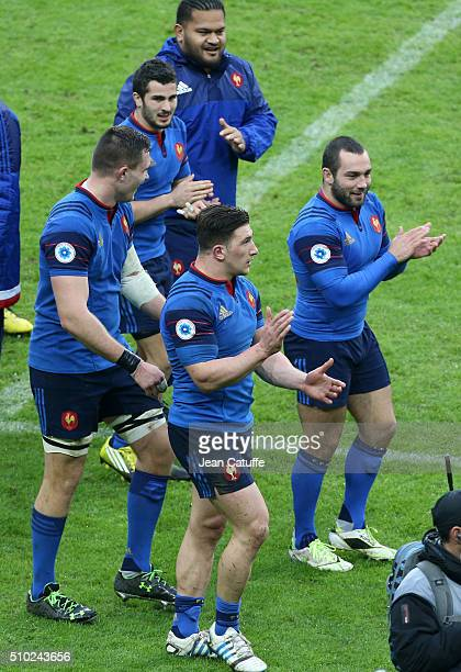 Vincent Pelo Sebastien Bezy Paul Jedrasiak JeanMarc Doussain Camille Chat of France celebrate the victory following the RBS 6 Nations match between...