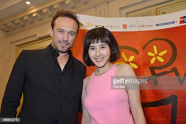 Vincent Perez and actress Xia Zitong attend the 4th Paris Chinese Film Festival Press Conference at Hotel Meurice on May 12 2014 in Paris France