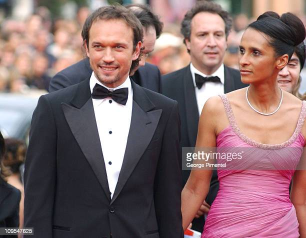Vincent Perez and guest during 2004 Cannes Film Festival 'The Bad Education' Opening Night at Palais Du Festival in Cannes France