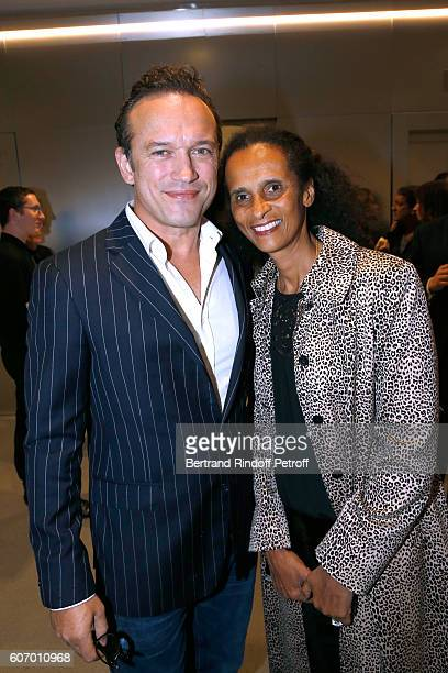 Vincent Perez and his wife Karine Silla attend the 4O Rue de Sevres Preview at the Head Offices of Both Kering and Balenciaga building The site was...