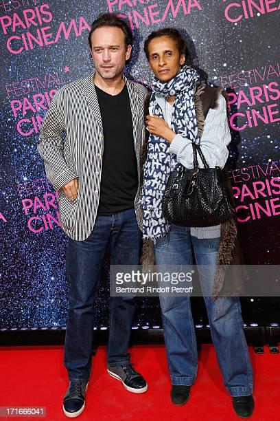 Vincent Perez and his wife Karine Silla pose at Festival Paris Cinema Opening night and premiere of 'La Venus a la fourrure' held at Gaumont...