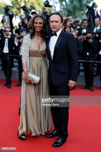 Vincent Perez and Karine Silla attend the 'Based On A True Story' screening during the 70th annual Cannes Film Festival at Palais des Festivals on...