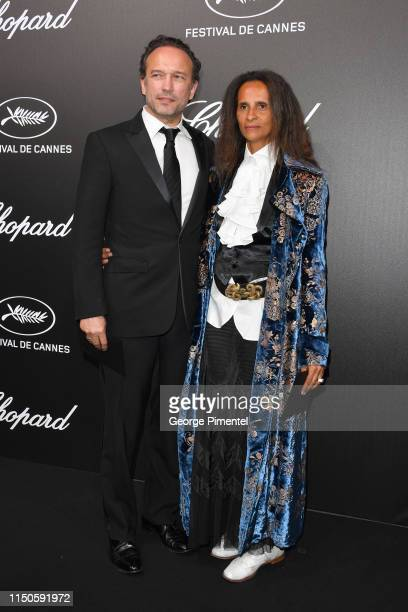 Vincent Perez and Karine Silla attend the The Chopard Trophy event during the 72nd annual Cannes Film Festival on May 20 2019 in Cannes France
