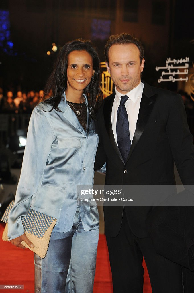 Vincent Perez and Karine Silla attend the Tribute to French Cinema during the Marrakech 10th Film Festival.