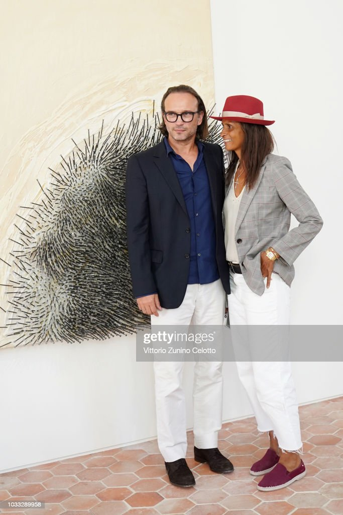 Vincent Perez and Karine Silla attends The Kering Heritage Days Opening Night at 40 Rue de Sevres on September 14, 2018 in Paris, France.