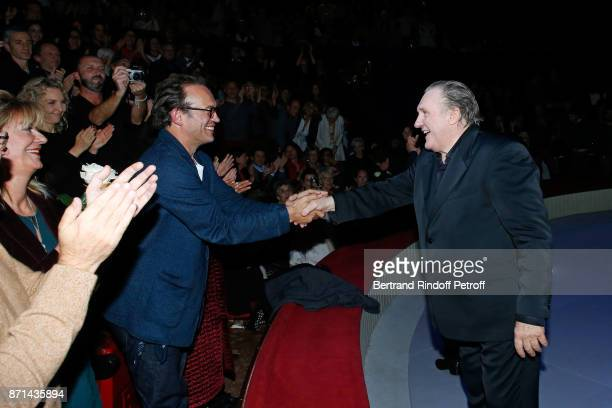 Vincent Perez attending Gerard Depardieu acknowledges the applause of the audience at the end of 'Depardieu Chante Barbara' at Le Cirque d'Hiver on...