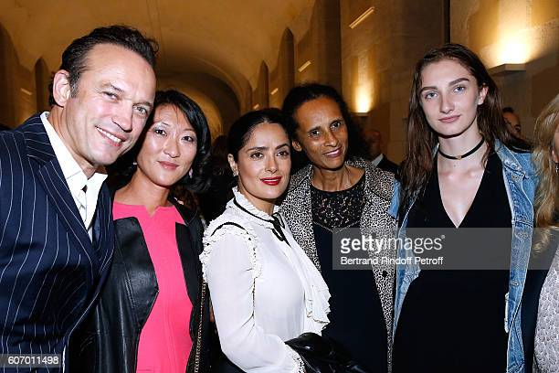 Vincent Perez Fleur Pellerin Salma Hayek Karine Silla and Mathilde Pinault attend the 4O Rue de Sevres Preview at the Head Offices of Both Kering and...