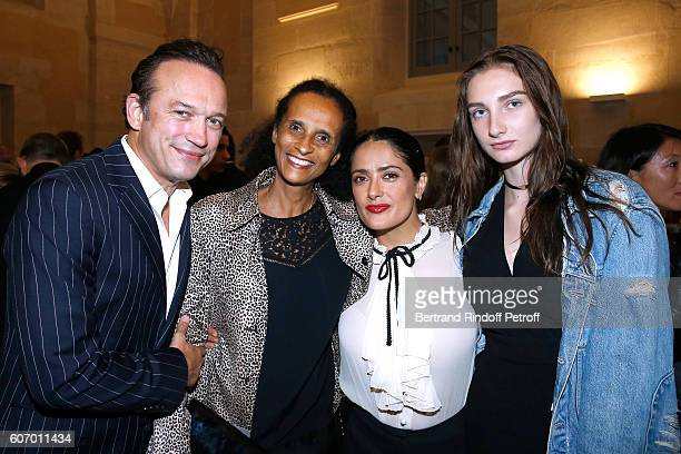 Vincent Perez his wife Karine Silla actress Salma Hayek and Mathilde Pinault attend the 4O Rue de Sevres Preview at the Head Offices of Both Kering...