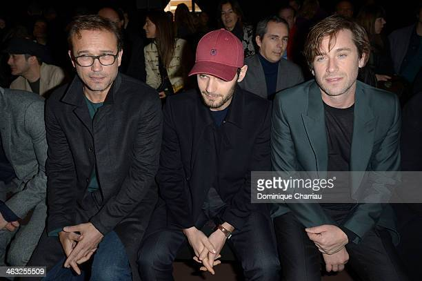 Vincent Perez Hugo Becker and Thomas Dutronc attend the Cerruti Menswear Fall/Winter 20142015 Show as part of Paris Fashion Week on January 17 2014...