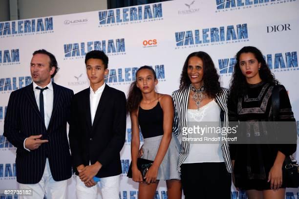 Vincent Perez Pablo Perez Tess Perez Karine Silla and Iman Perez attend 'Valerian et la Cite des Mille Planetes' Paris premiere at La Cite Du Cinema...
