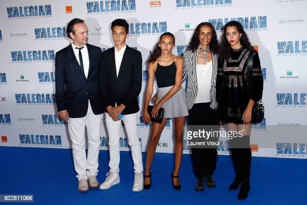 Vincent Perez Pablo Perez Tess Perez Karine Silla and Iman Perez attend 'Valerian et la Cite desMille Planetes' Paris Premiere at La Cite Du Cinema...